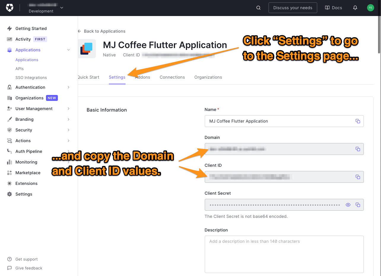 """The """"Settings"""" tab for the """"MJ Coffee"""" application in the Auth0 dashboard. The user is directed to copy the values in the """"Domain"""" and """"Client ID"""" fields."""