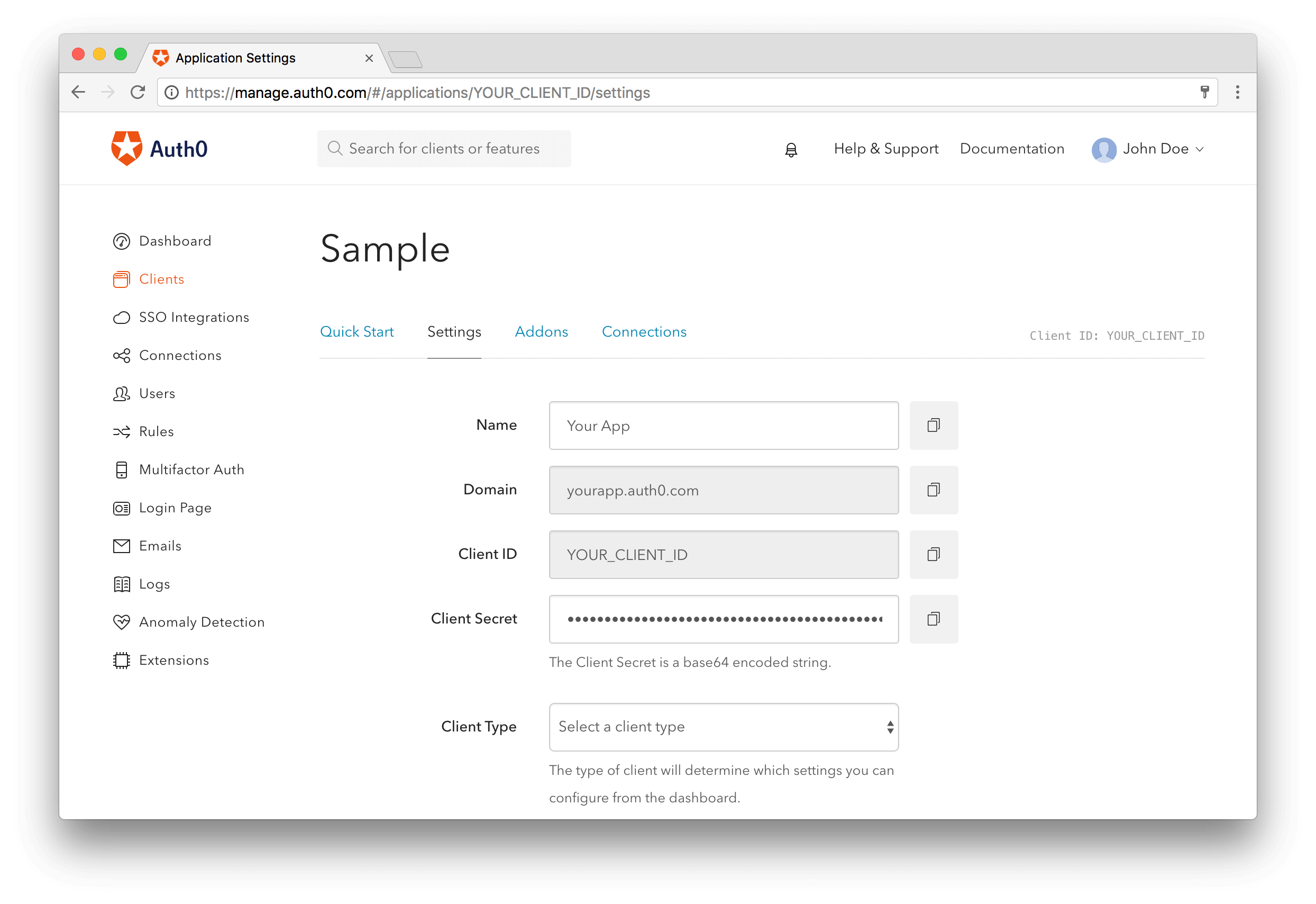 Android application on Auth0's dashboard