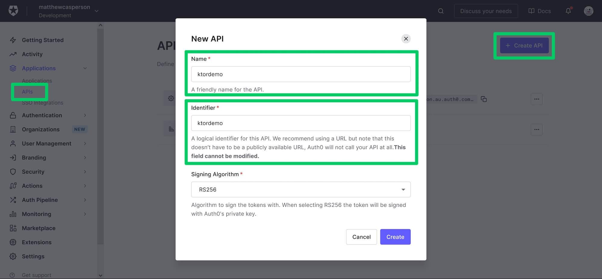 Creating the API