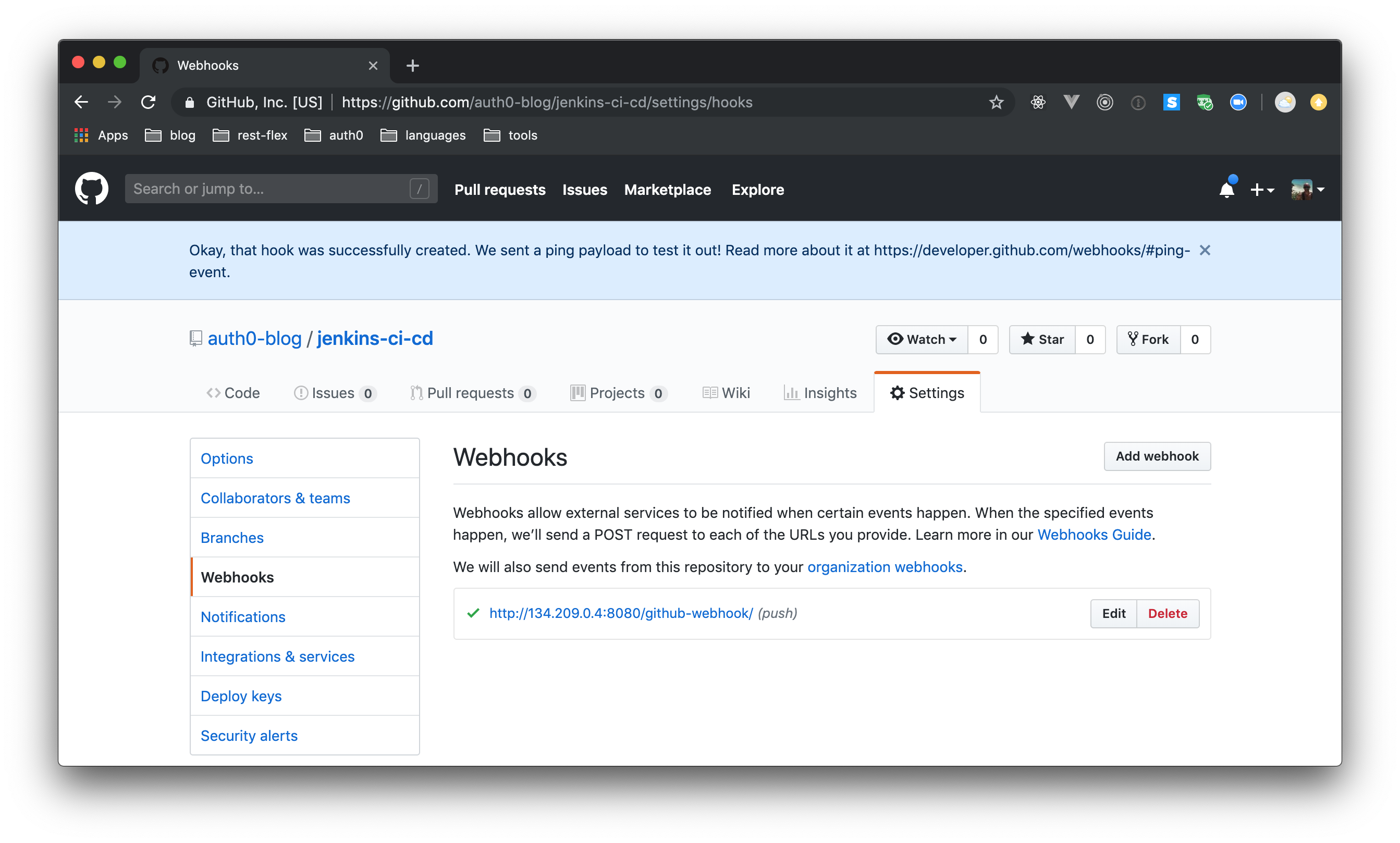 Creating a GitHub webhook to notify Jenkins about new commits.