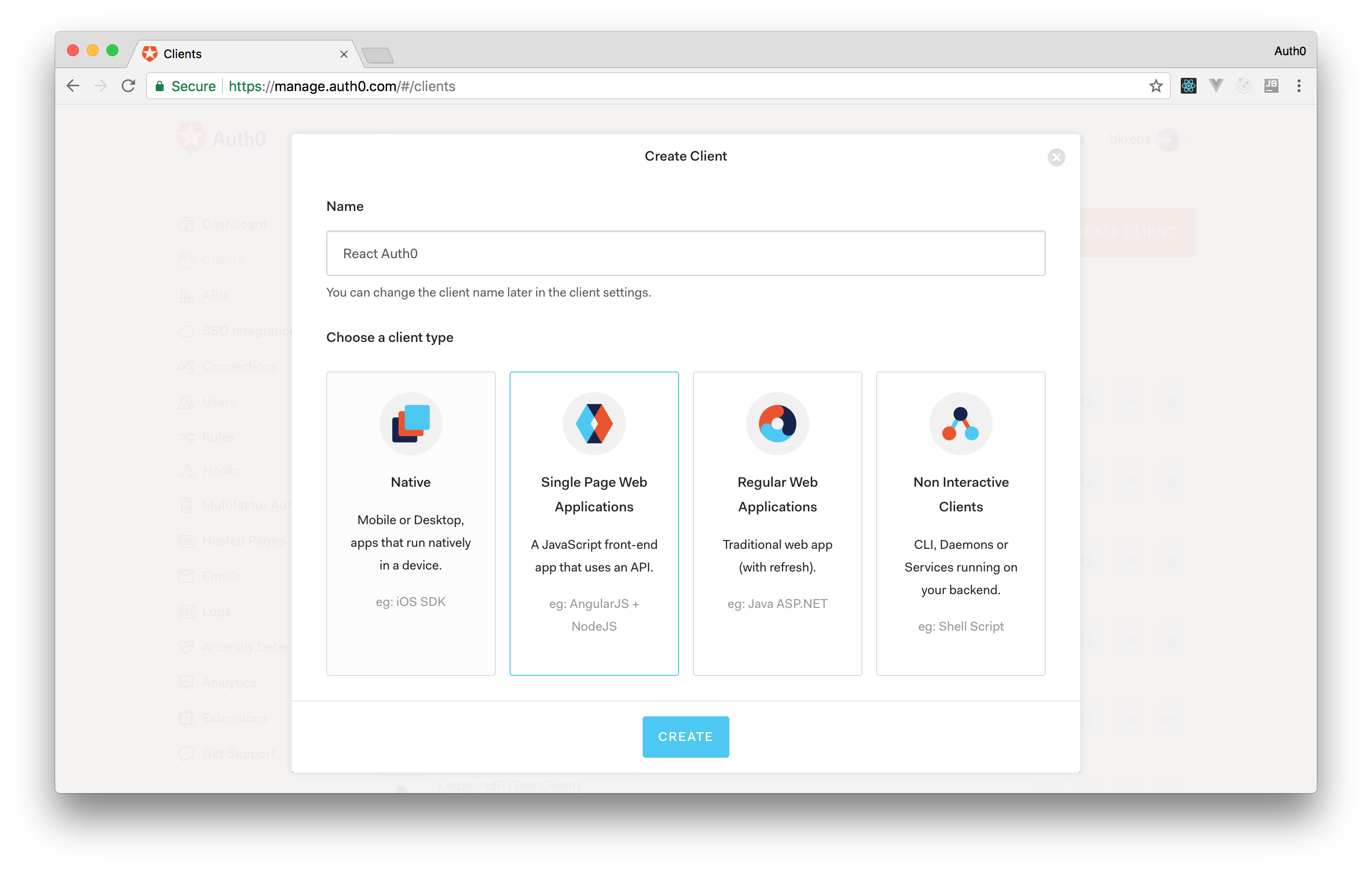 Creating a React application on Auth0