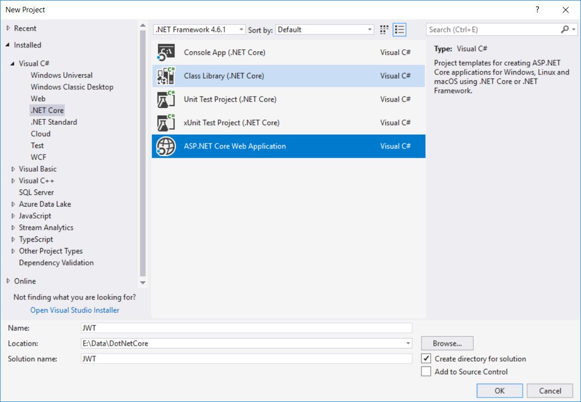 Creating ASP.NET Core 2 project on Visual Studio
