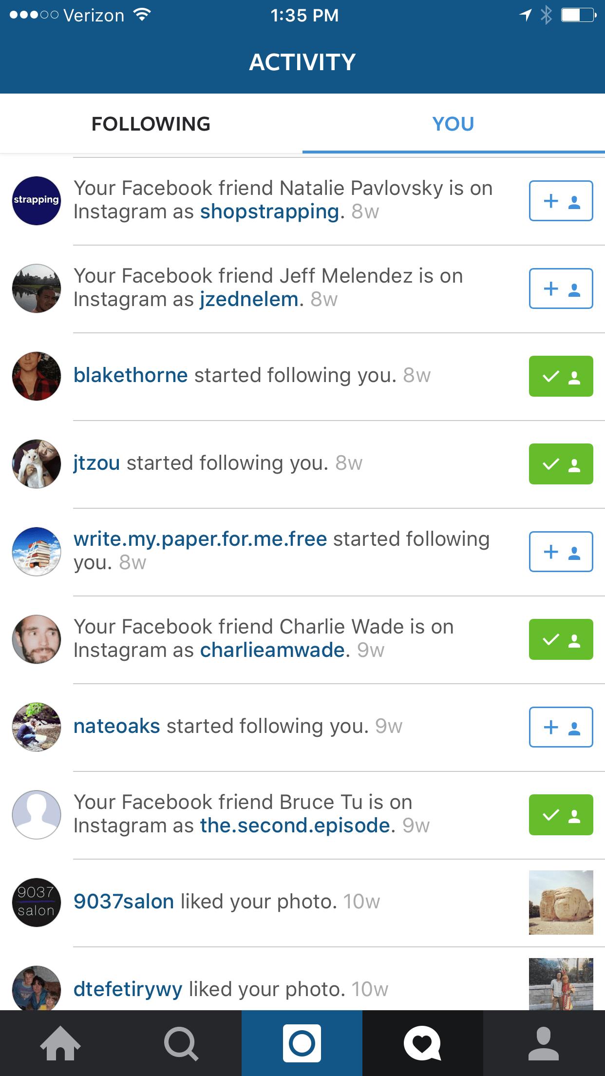 Instagram Notifications based on Social Profiles