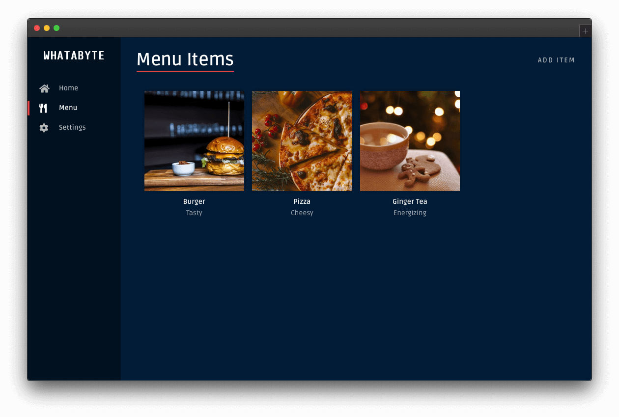 Menu page without the deleted item