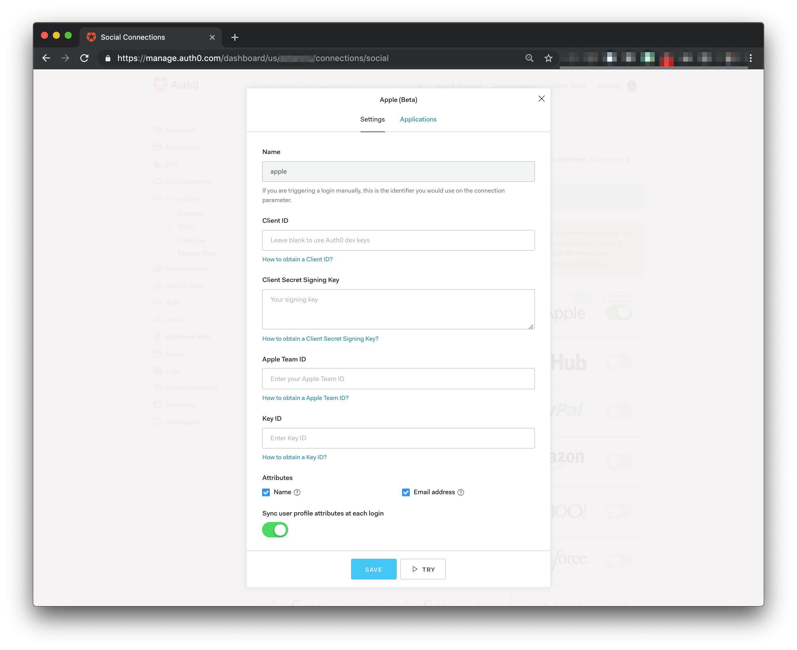 Auth0 Dashboard Sign In with Apple provider settings