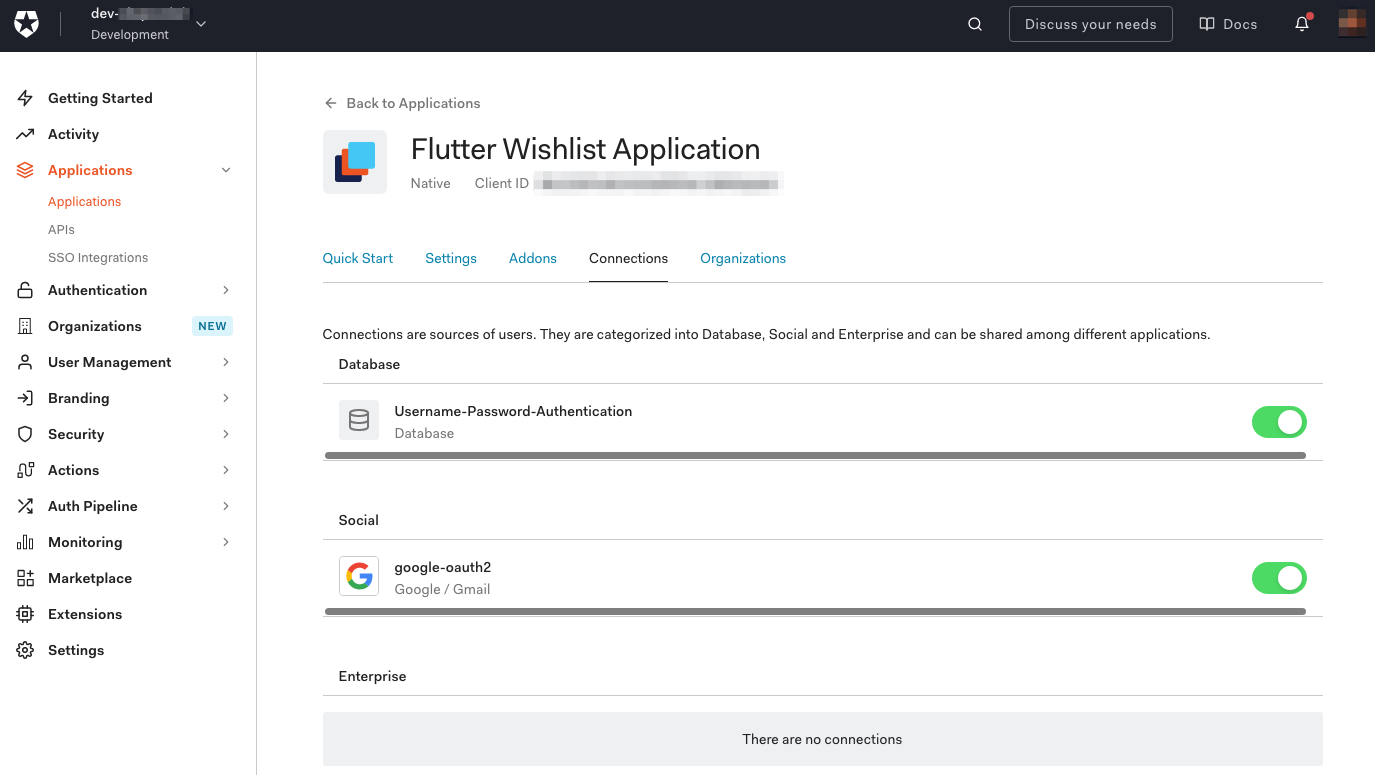 """""""Flutter Wishlist Application"""" """"Connections"""" tab. Both """"Username-Password-Authentication"""" abd """"google-oauth2"""" switches are enabled."""