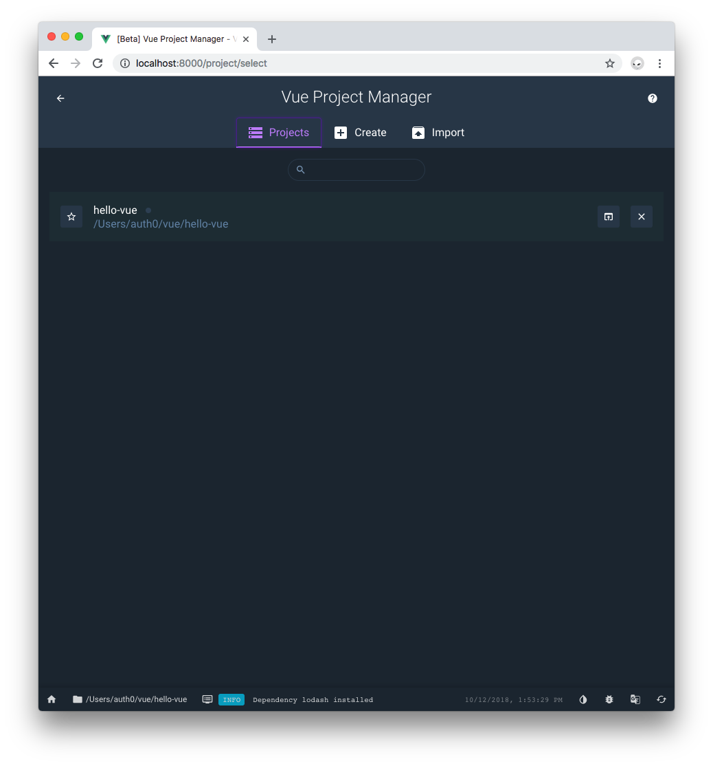 Vue Project Manager projects