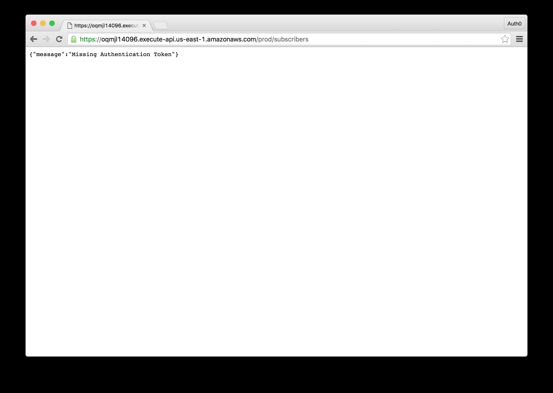 API Gateway Unauthenticated Request