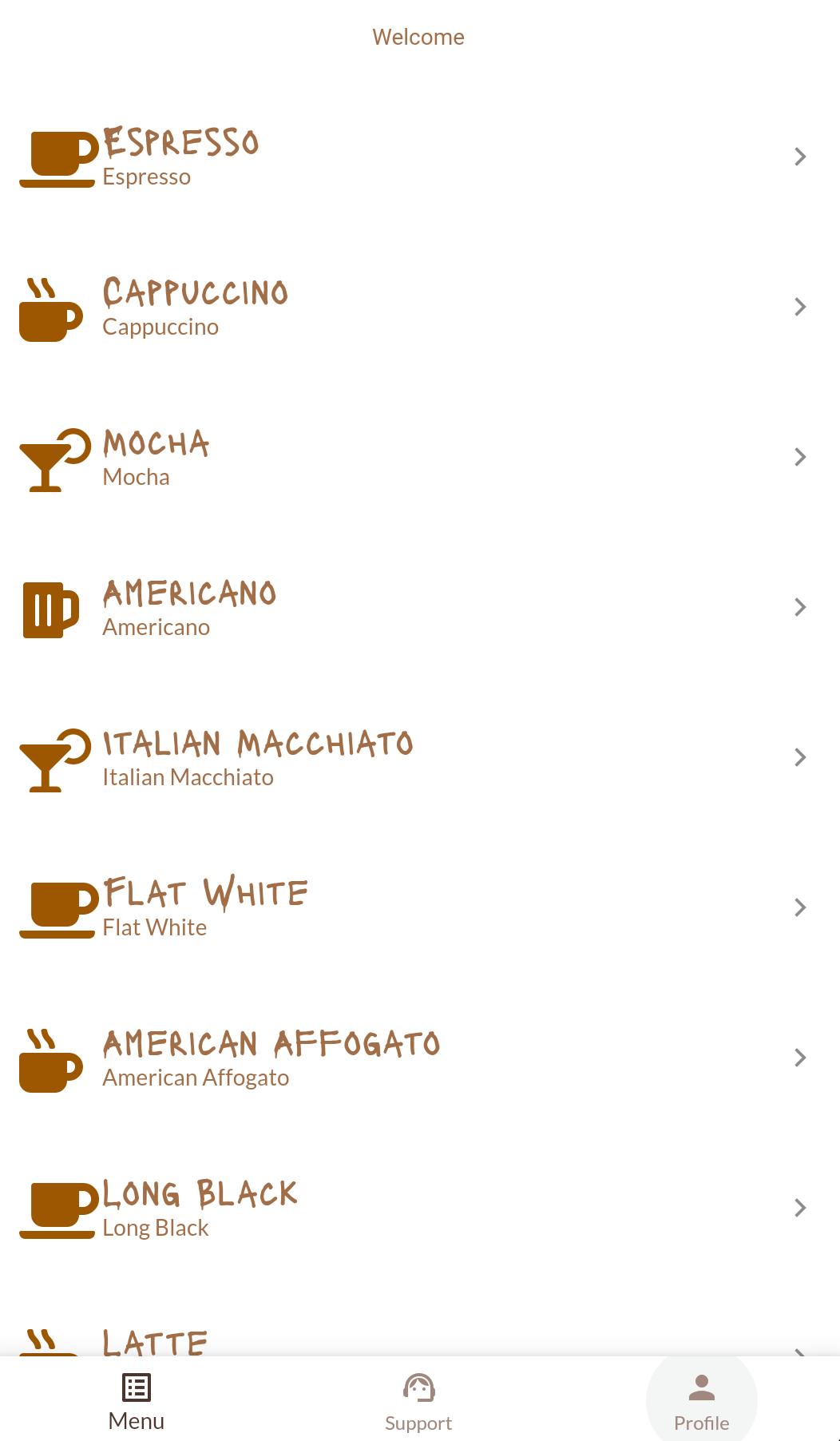 "The MJ Coffee App's ""Menu"" screen"
