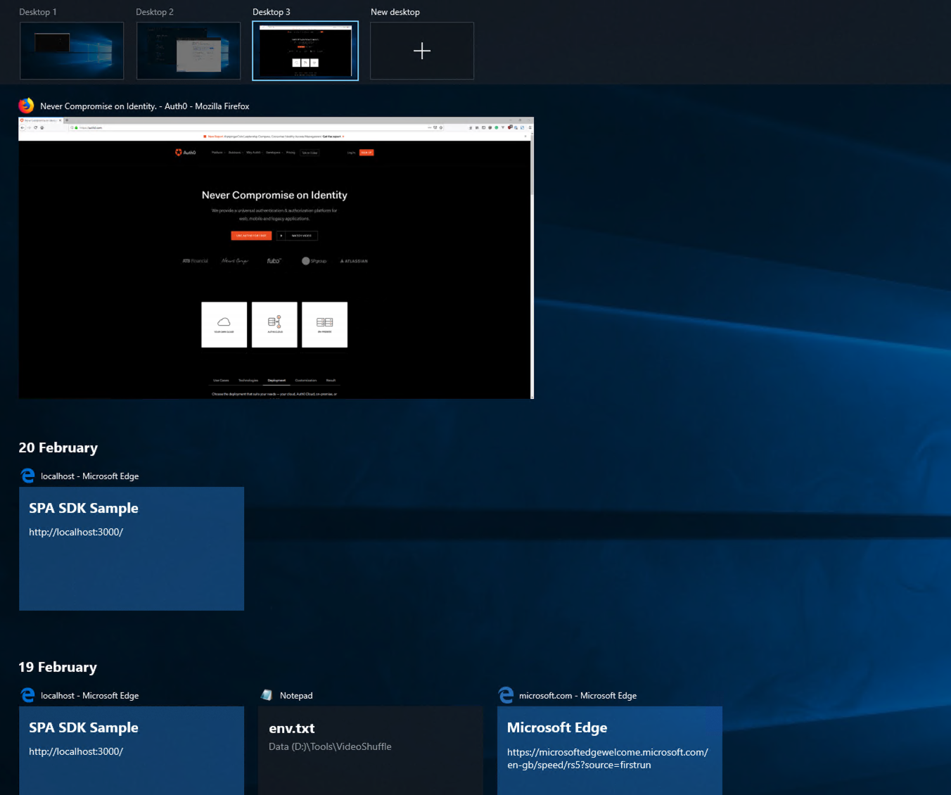 Screenshot of Windows' multiple desktops feature