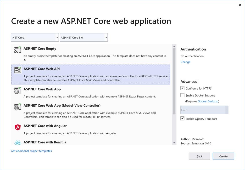 ASP.NET template in Visual Studio
