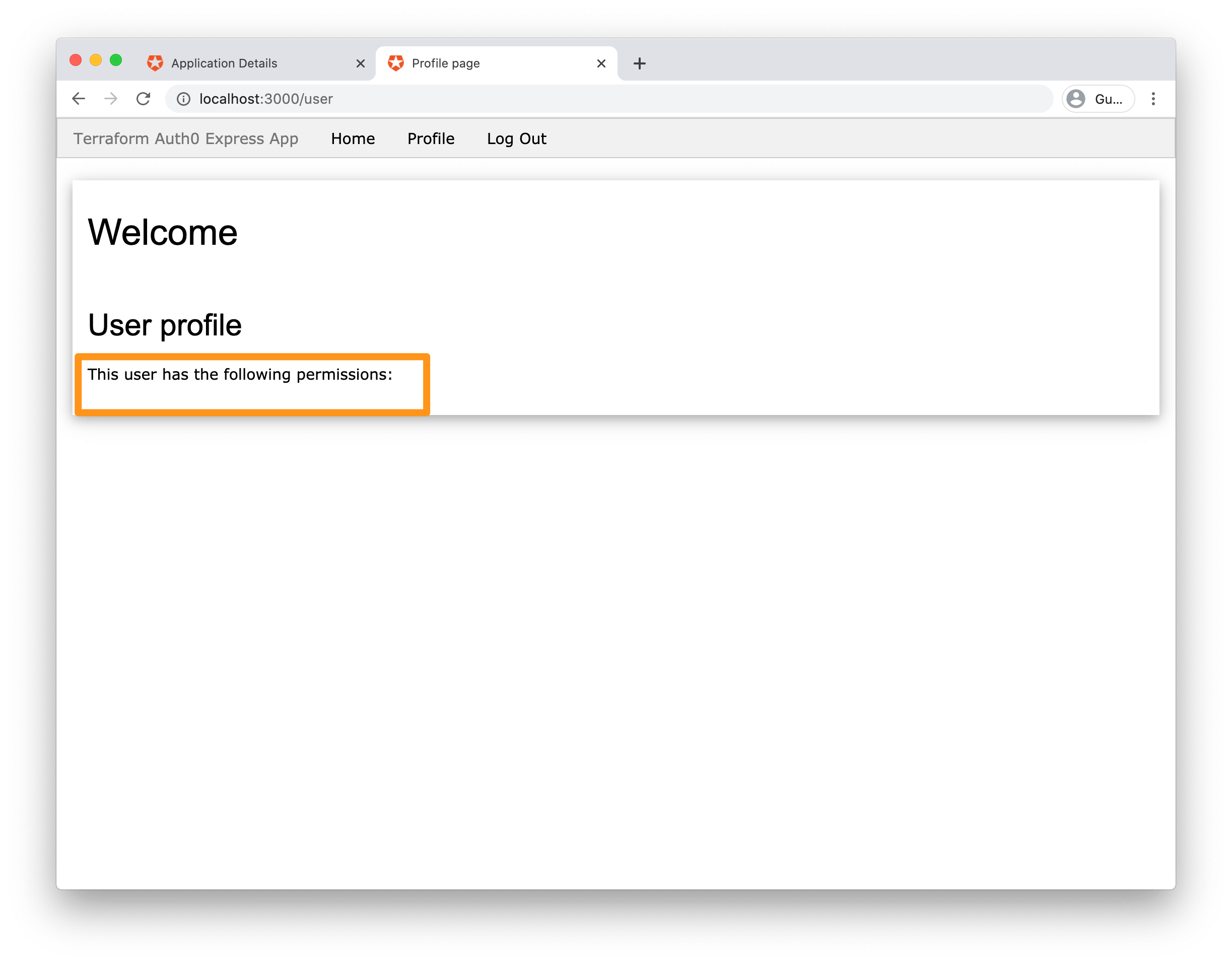 Screenshot: Successfully signed-in user