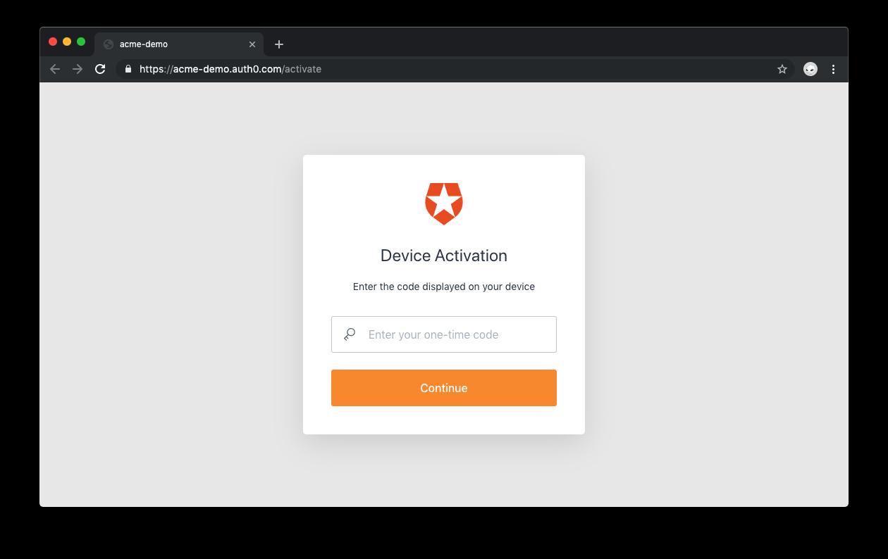 Auth0 Device Flow:デバイスのアクティベーション