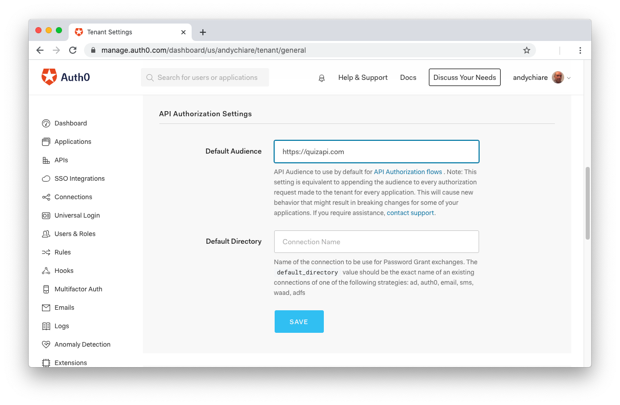 Configuring the default audience in Auth0