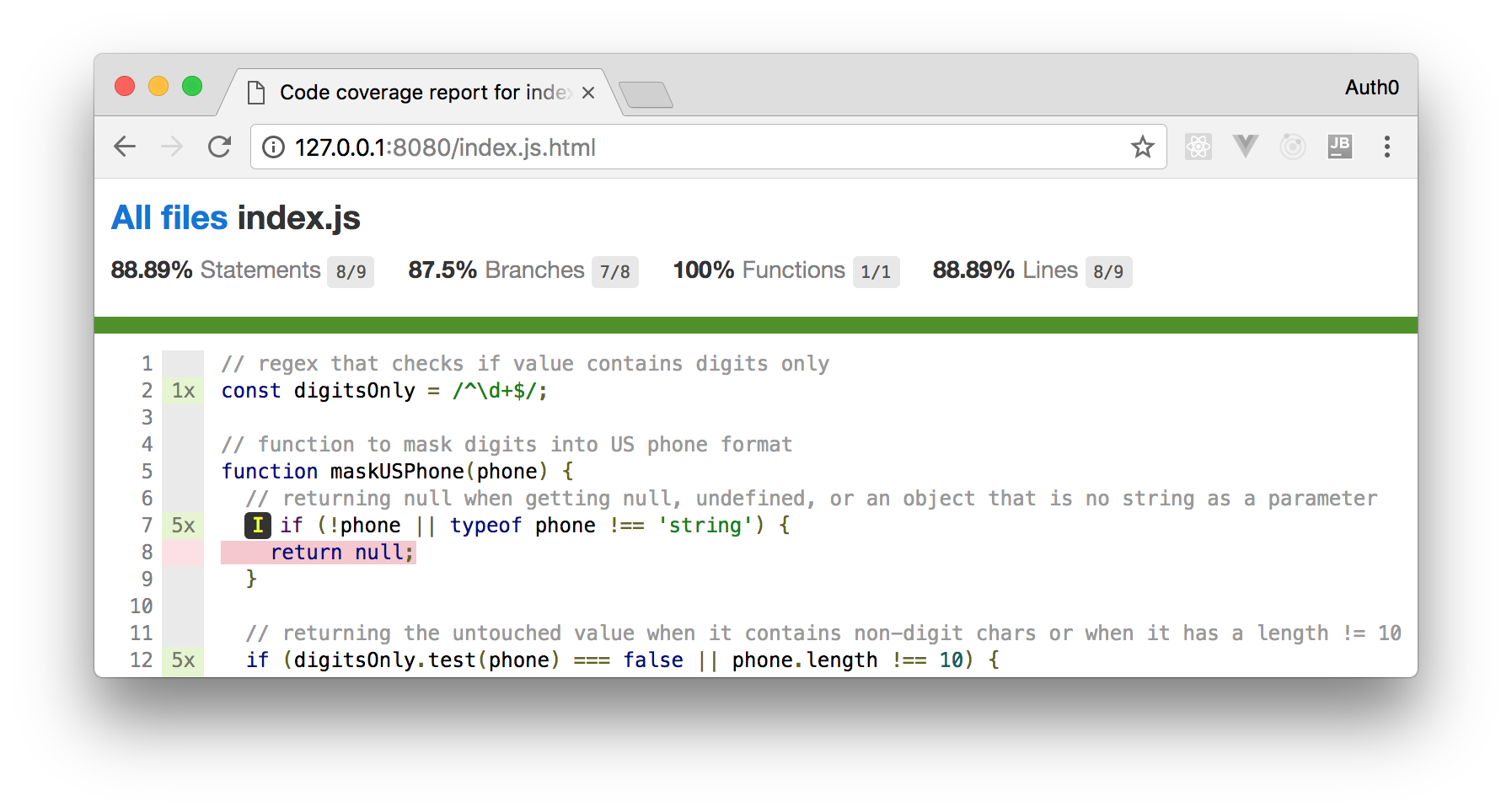 NPM Package Development: Browsing Istanbul HTML Report