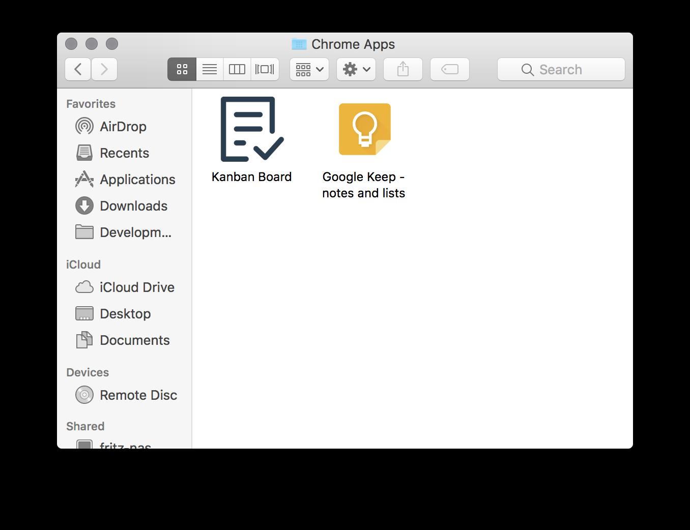 Chrome Apps folder on MacOS