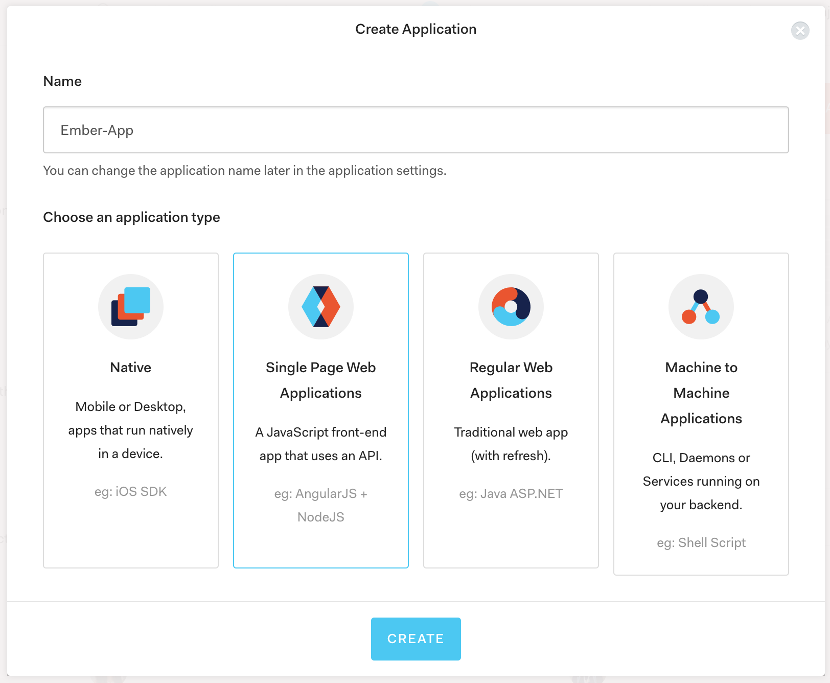 Auth0 Dashboard Create Application Page