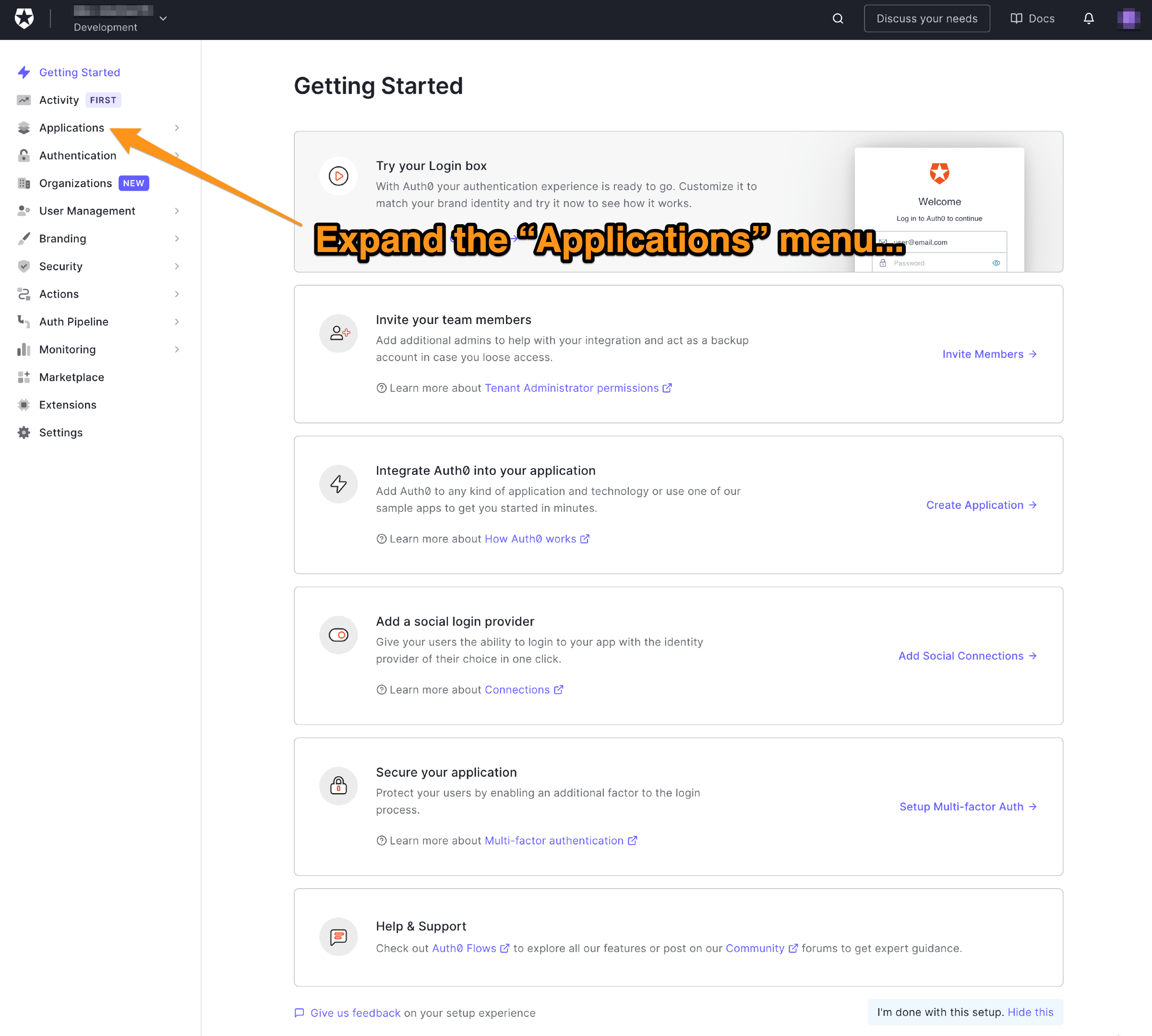 """The main page of the Auth0 dashboard. The reader is directed to expand the """"Applications"""" menu."""