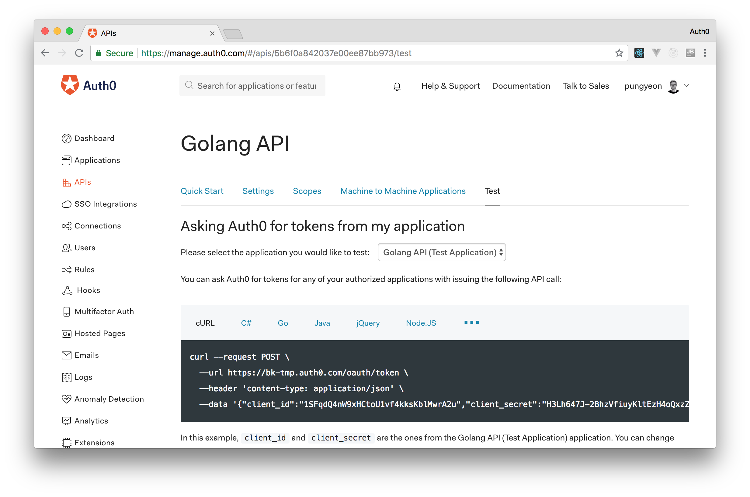 Auth0 showing a curl command to generate access tokens.