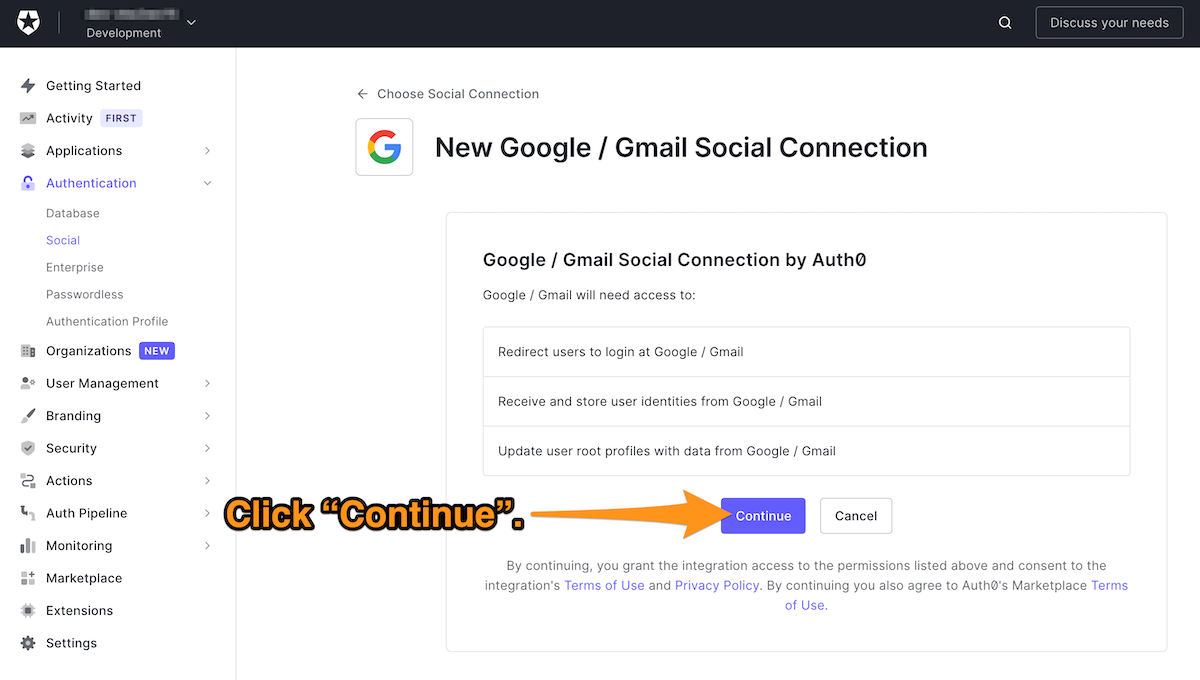 Initial page for creating a new Google/Gmail social connection