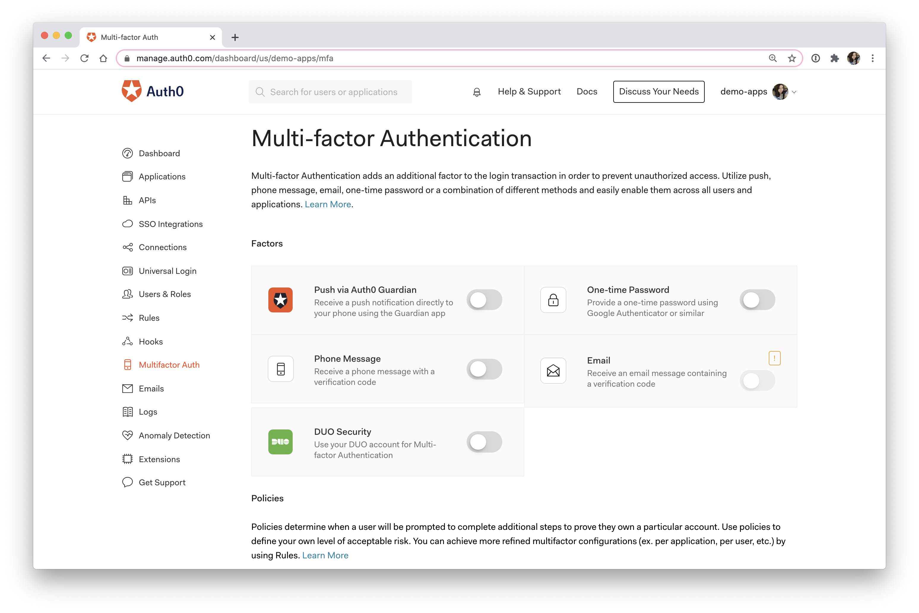 Auth0 multi-factor authentication dashboard