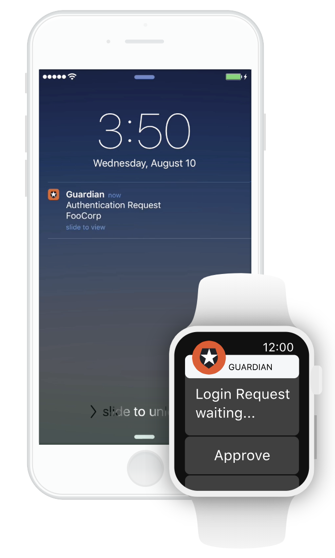 Auth0 Guardian MFA authentication requests mobile and smart watch screenshots
