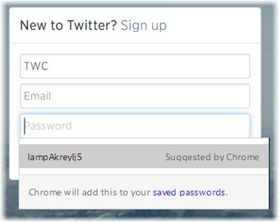 Google Chrome's built-in recommended password generator example