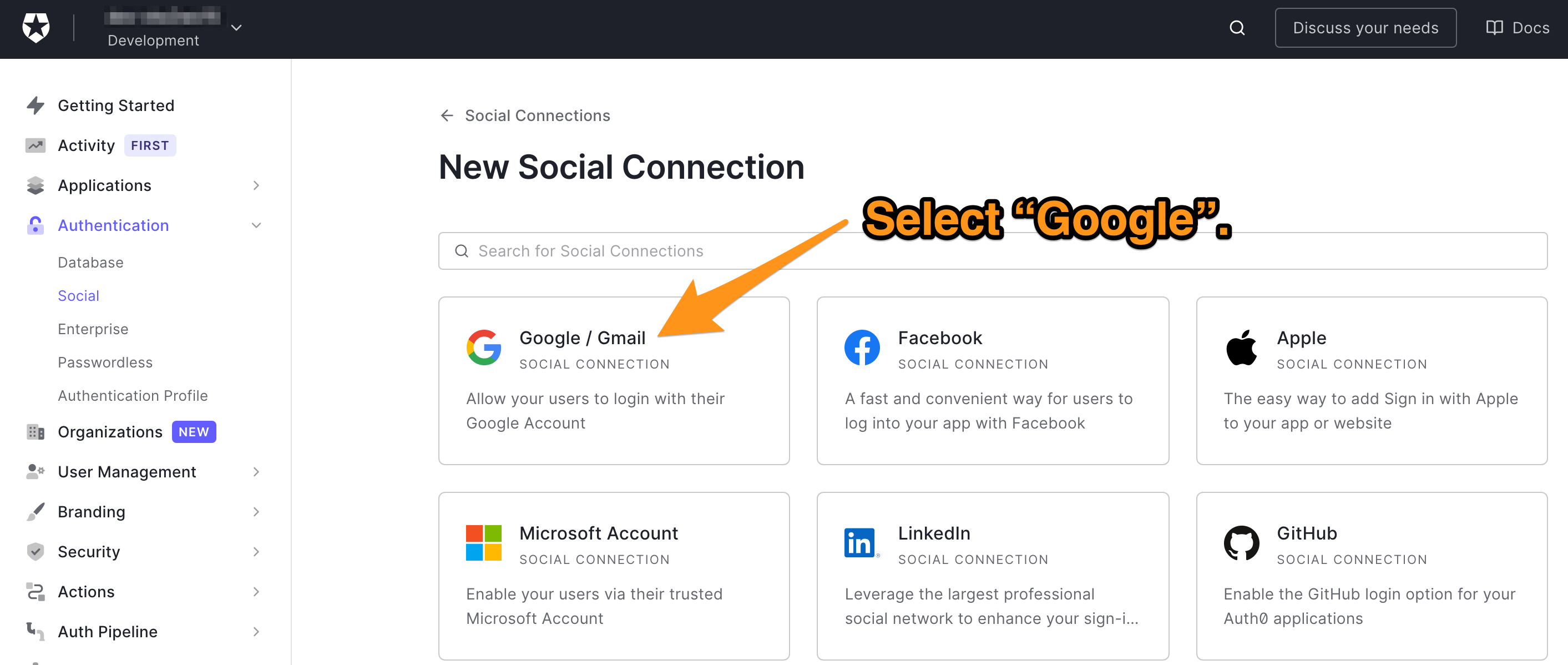 Selecting Google from all the available social connections