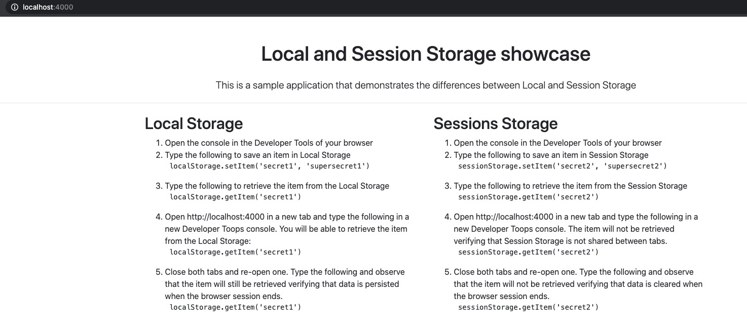Local and Session Storage Showcase