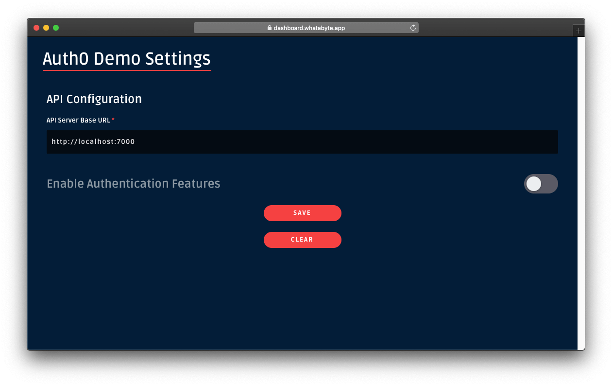 Dashboard demo settings without authentication