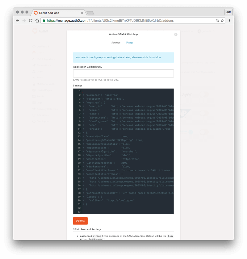 Addon: SAML2 Web App Settings Tab