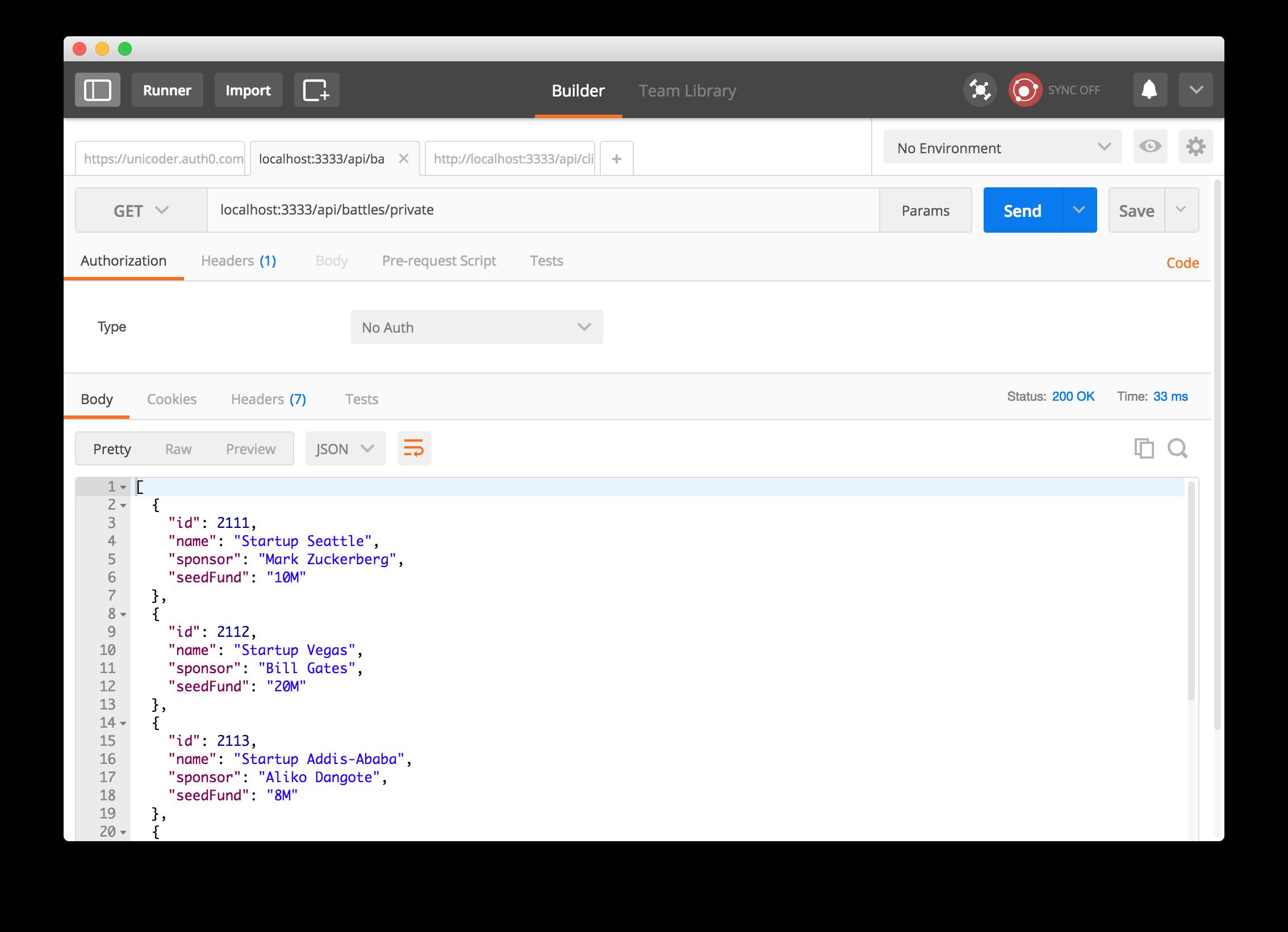 API serving private startup battles