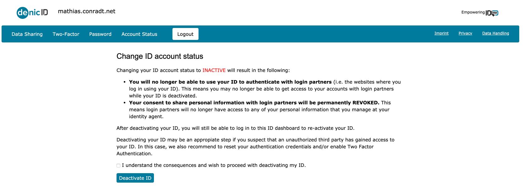 ID4me account status
