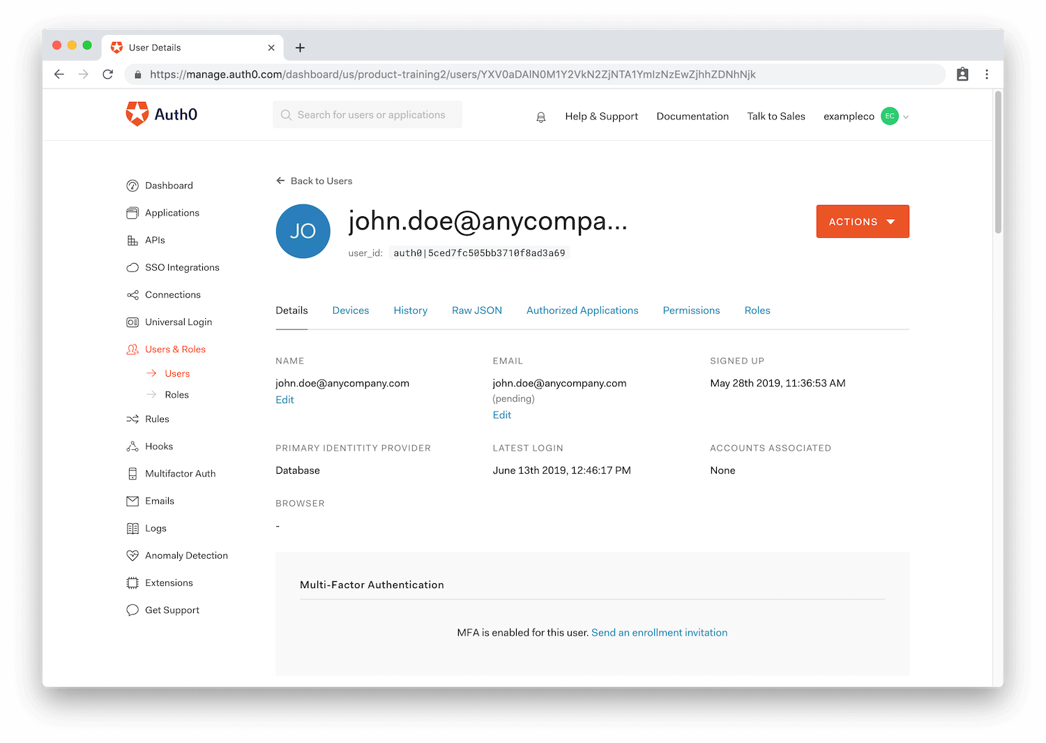 Image of Auth0 Dashboard showing the User Details view