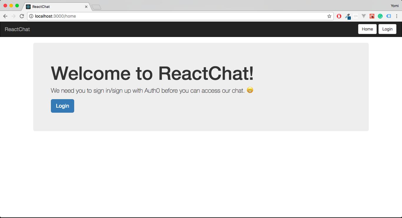 ReactJS & Pusher Chat - welcome screen