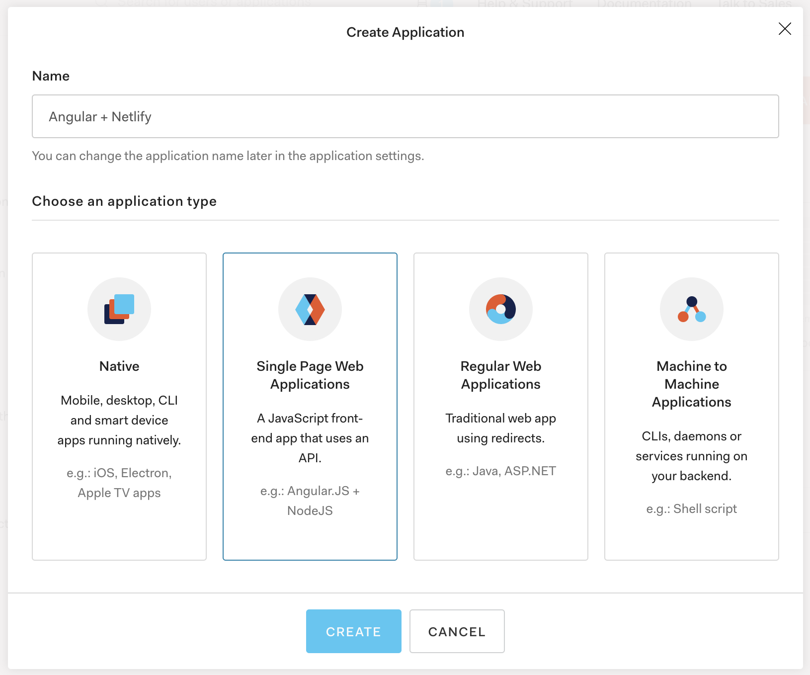 Create an application in Auth0 from the dashboard