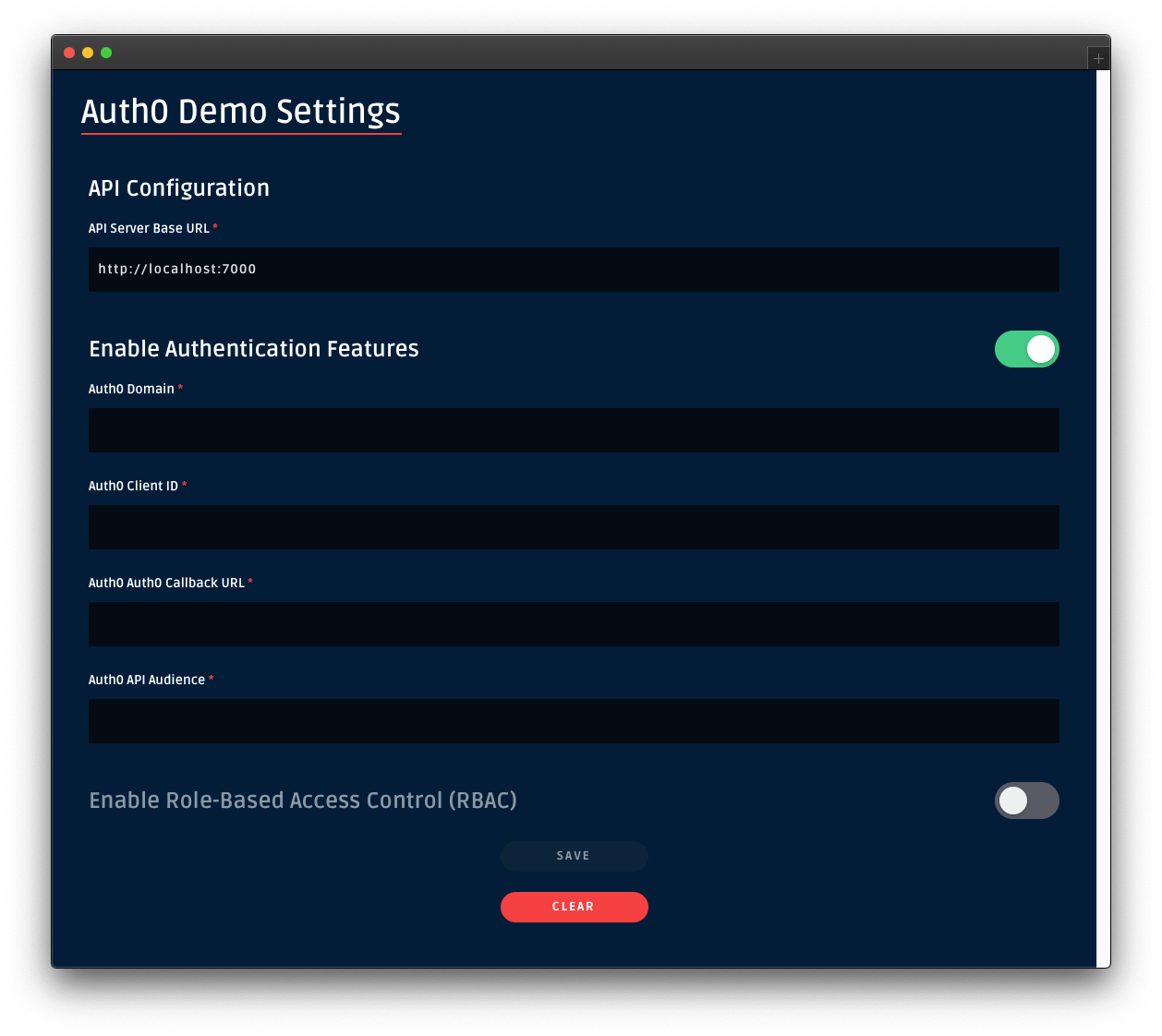 Auth0 authentication demo settings