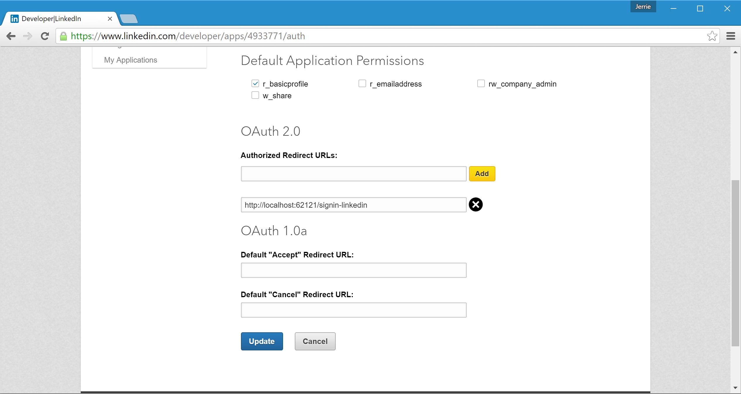 Adding the Authorized Redirect URL