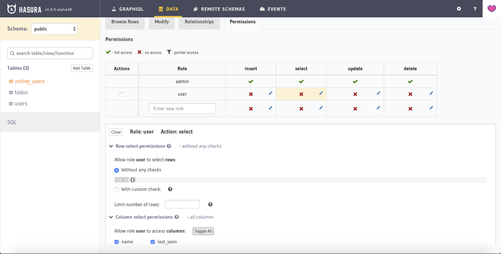 Screenshot showing the permission configuration for the 'online_users' view