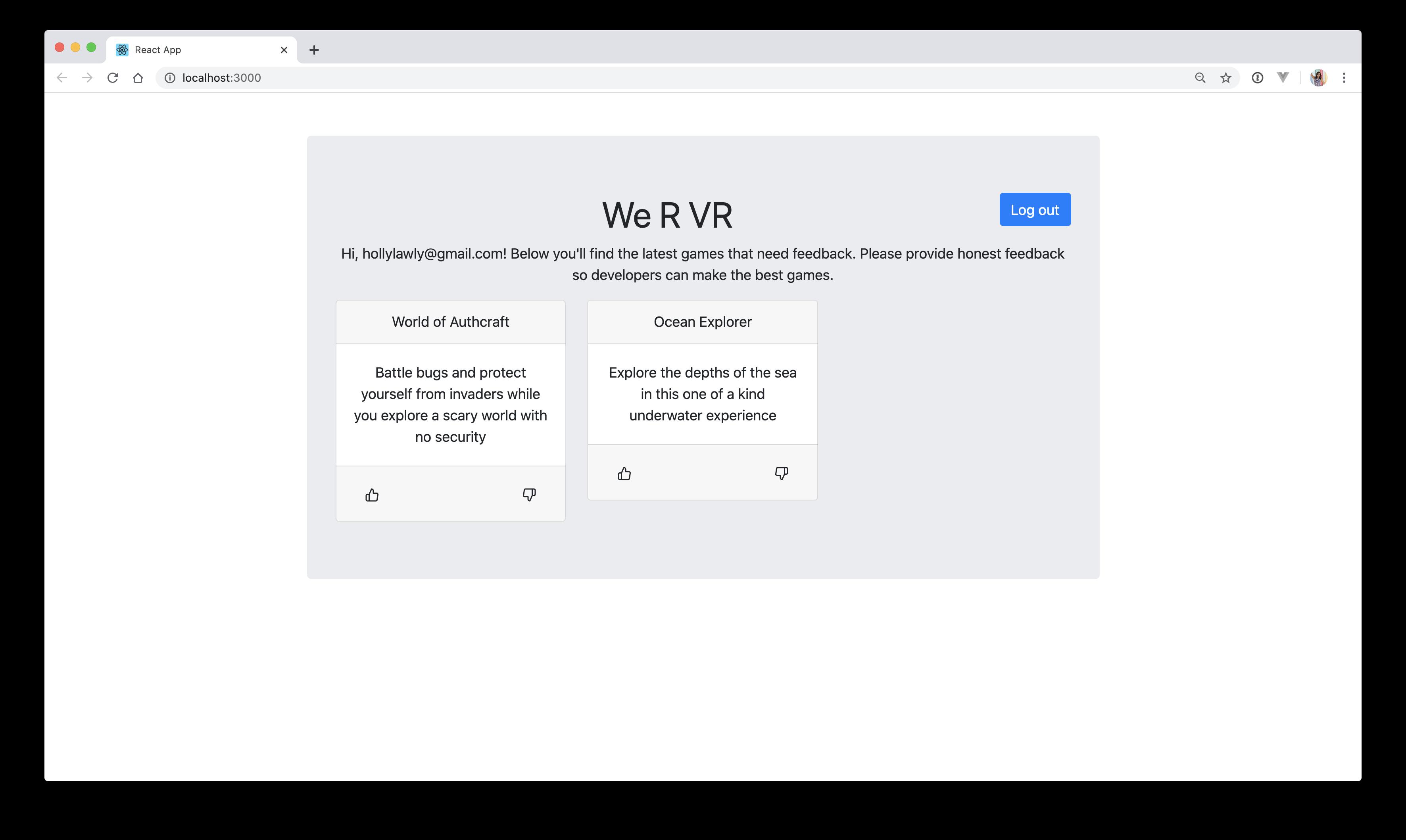 We R VR React Login Page