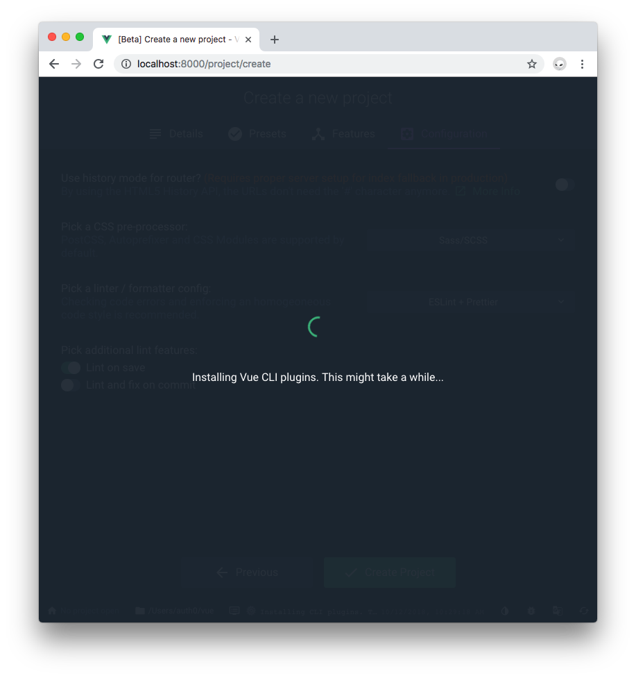 Vue Project Manager Create installing Vue plugins