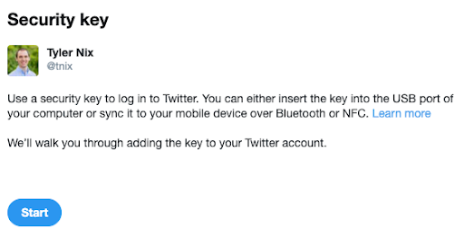 Security key with Twitter