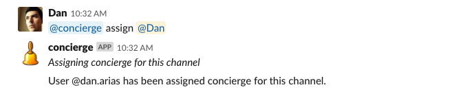 Assigning the concierge role to a teammate