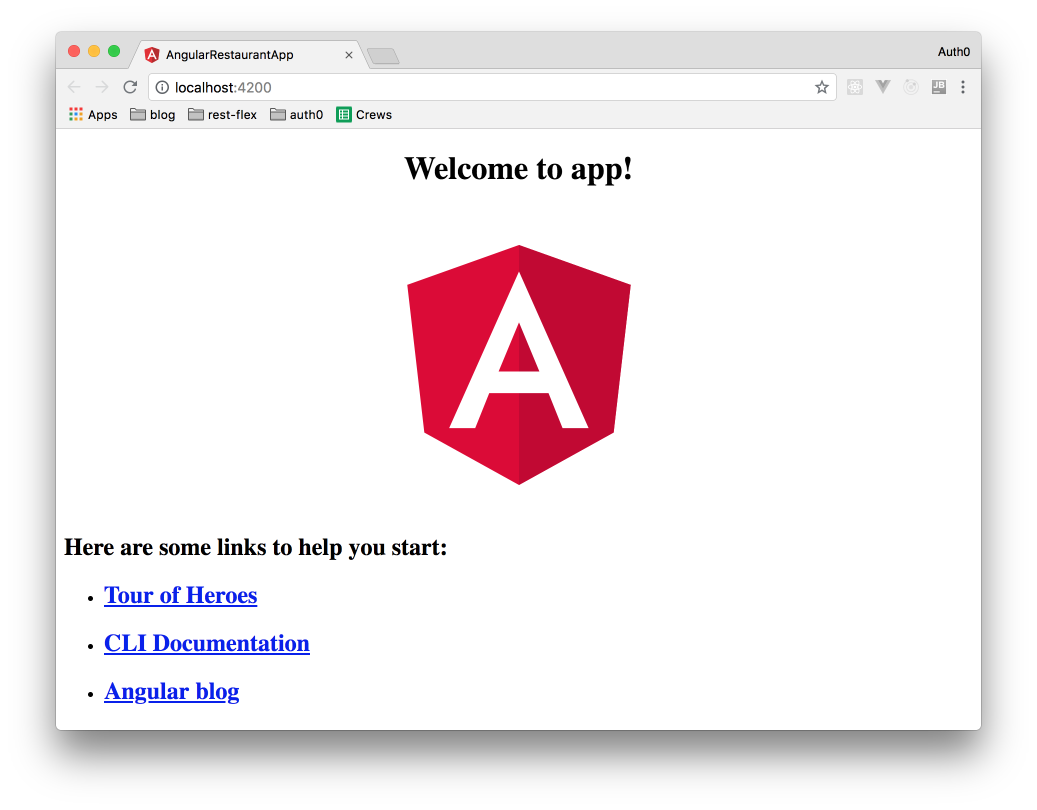 Scaffolding Angular app - the welcome page