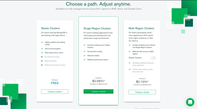 MongoDB Atlas create account