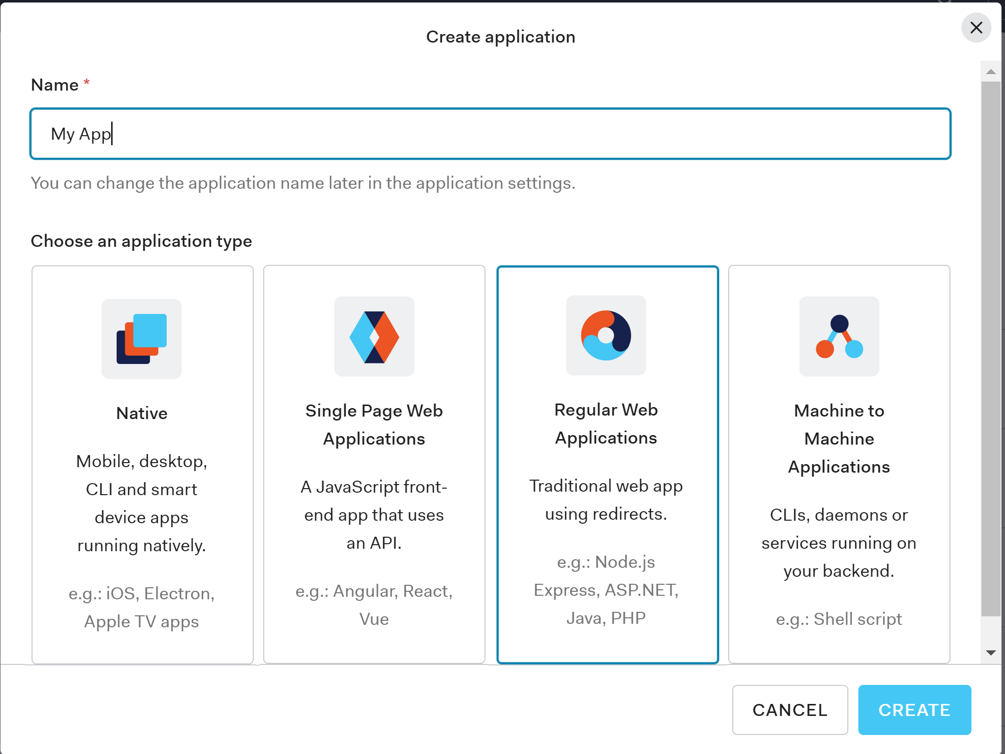Creating applications in the Auth0 Dashboard