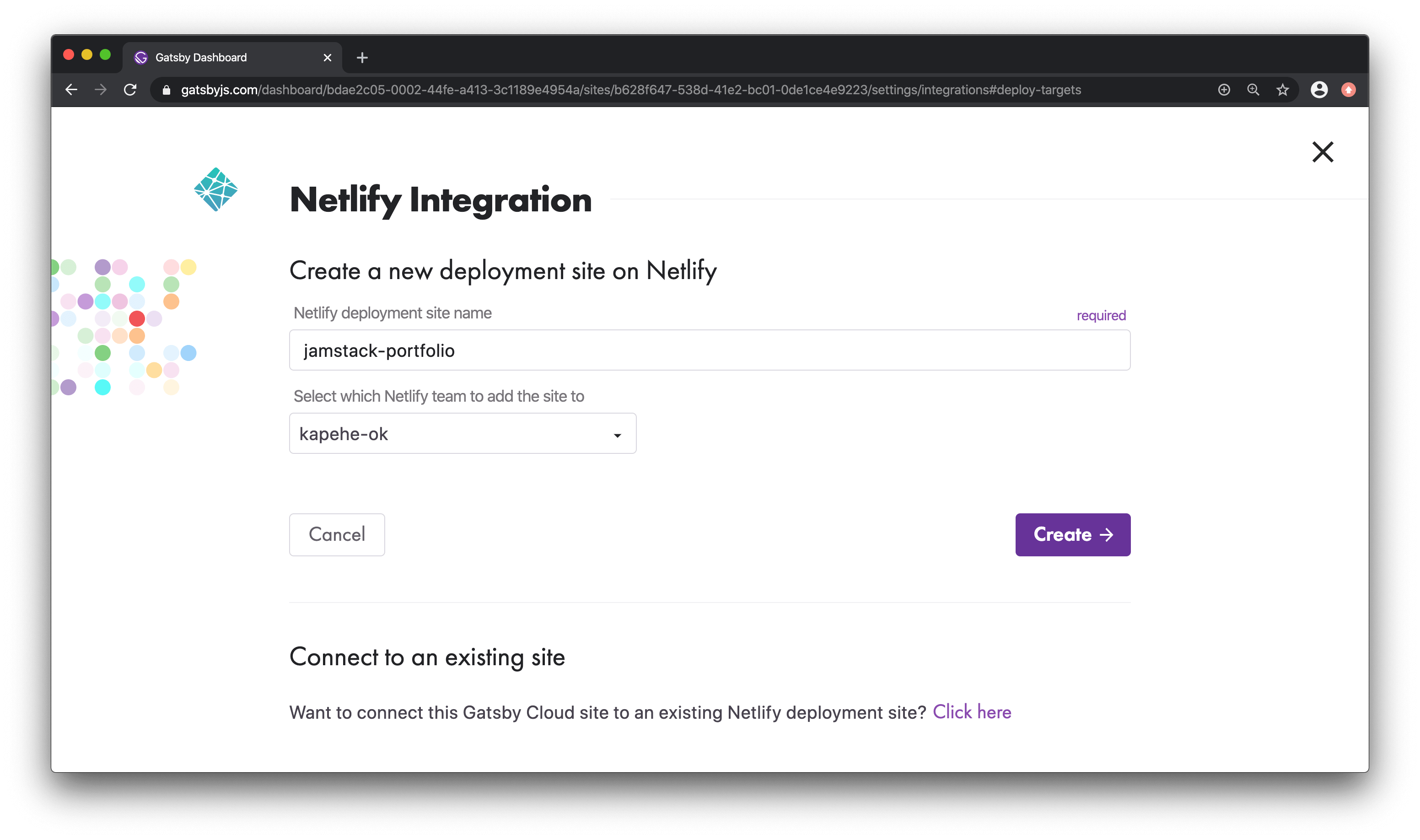 Create a new Netlify deployment site view