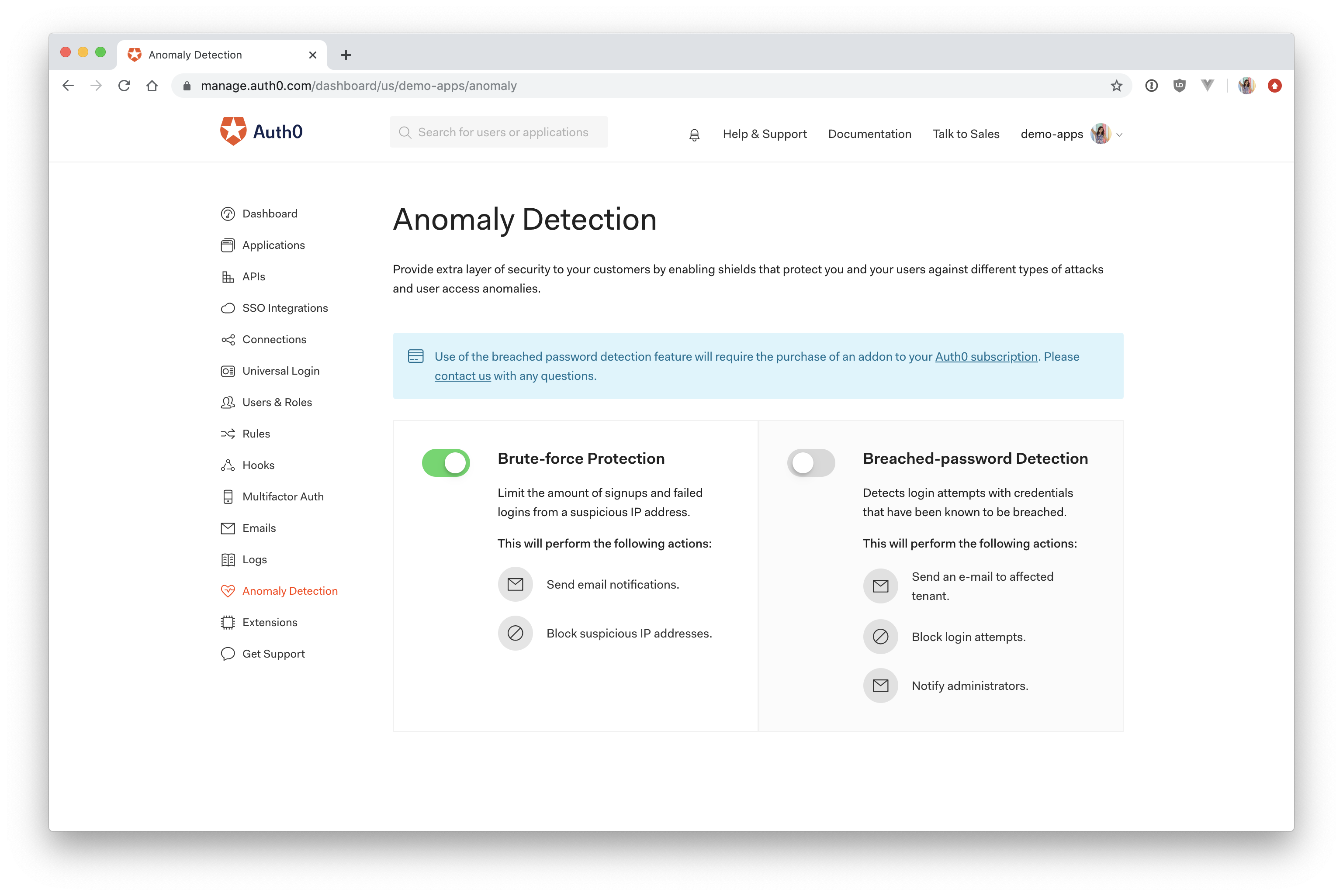 Auth0 anomaly detection brute force