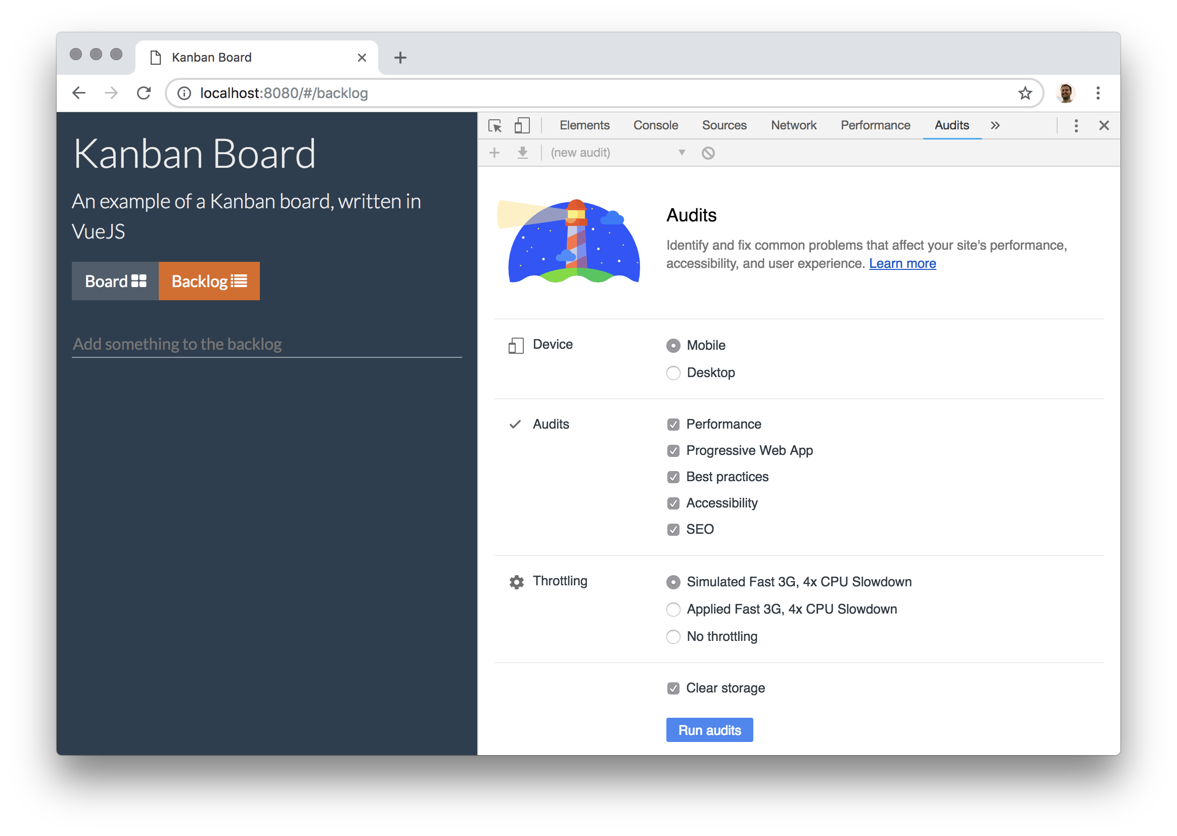The Audits panel in Chrome Developer Tools - Lighthouse