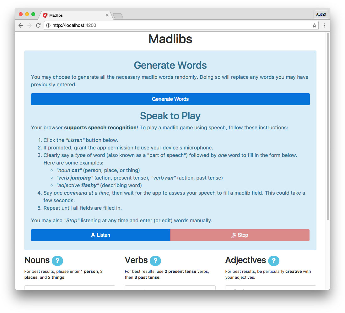Madlibs app with Generate Words component - speech recognition supported